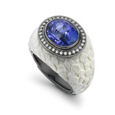 Theo Fennell -- Mammoth tusk, 6.52ct tanzanite, set in white gold, framed by 0.22ct of diamonds.