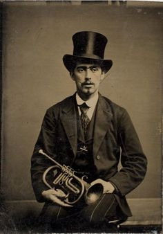 ca. 1870, [portrait of a trumpeter] via the International Center of Photography