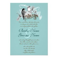 Vintage Love Birds Wedding Invitation