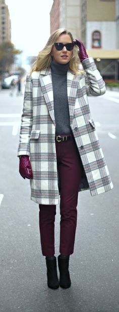 The Classy Cubicle: Berry + Grey {asos, theory, ann taylor, banana republic, nina ricci, office style, work wear, plaid tartan coat, burgundy ankle pants, chunky knit turtleneck, leather gloves}