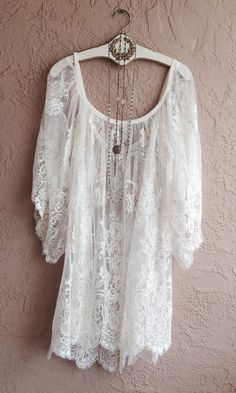 Jens Pirate Booty Gypsy wedding Sheer White Lace Off shoulder Cape sleeve romantic dress