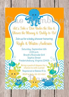 Printable Under The Sea Invitation For Baby Shower Gender Neutral Boy Or You Print 0023