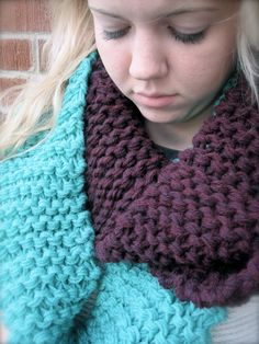 Turquoise and Plum Knit Infinity Scarf, Knit Scarf, Infinity Scarf, Fall Infinity Scarf. $22.00, via Etsy.