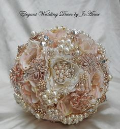 Pink and Gold Wedding Brooch Bouquet Brooch Bouquet Rose