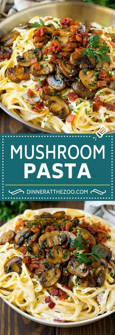 This mushroom pasta is sauteed garlic butter mushrooms and bacon, all tossed in a creamy parmesan sauce with linguine pasta. A quick and easy dinner! Creamy Pasta Recipes, Healthy Pasta Recipes, Healthy Pastas, Bacon Recipes, Vegetarian Recipes, Simple Pasta Recipes, Crockpot Recipes, Vegetable Pasta Recipes, Steak Recipes