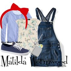 costume Inspired by character Matilda Wormwood played by Mara Wilson in the 1996 fantasy film, Matilda. Roald Dahl Costumes, Book Costumes, World Book Day Costumes, Book Week Costume, Dress Up Costumes, Costume Ideas, Family Costumes, Group Costumes, Book Characters Dress Up