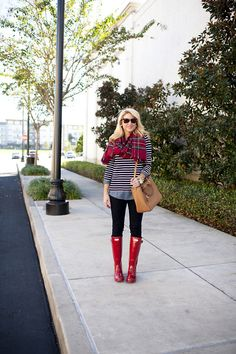 (via  Red Hunter Boots with Red Plaid and Stripe Tunic)