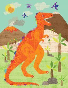 Oopsy Daisy Dinosaur Fun T-Rex Canvas Wall Art by Liza Lewis, available at #polkadotpeacock. #peacocklove #oopsydaisyart