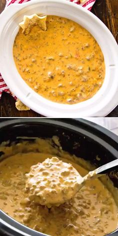 The perfect dip for chips for your football party! This is the best cheese dip made in your slow cooker. If you're looking for a game day food, appetizer recipe, or snack idea, this is for you! Save this pin! Hamburger Dip, Appetizer Recipes, Appetizers, Best Crockpot Recipes, Best Cheese, Game Day Food, Easy Snacks, Slow Cooker, Dips