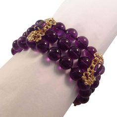14k  Amethyst Triple Bead Bracelet