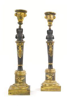 A pair of parcel-gilt bronze candlesticks, second quarter 19th century | Lot | Sotheby's