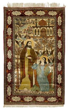 """KASHAN SILK antique.  Pictorial carpet """"Noli me Tangere"""". Central field with a depiction of Jesus Christ and Mary Magdalene, red border with inscription cartouches, in good condition, 135x215 cm."""