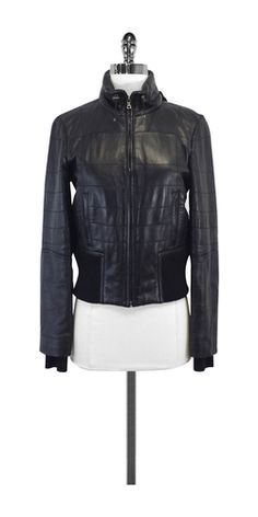 Elie Tahari Black Quilted Leather Bomber Jacket