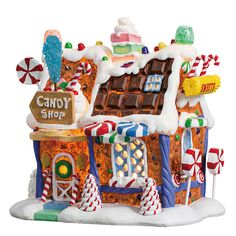 Candy Cane Lane features the The Sugar and Spice collection by Lemax. The Suger n Spice collection is a candy-inspired Christmas Village collection. Lemax Christmas Village, Gingerbread Village, Christmas Gingerbread House, Christmas Town, Christmas Villages, Christmas Gifts For Women, Christmas Candy, Christmas Traditions, Christmas Decorations