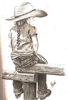 "my latest drawing. with 4 little cowgirls of my own, I have great inspiration. ""Little Cowgirl"" my latest drawing. with 4 little cowgirls of my own, I have great inspiration. Little Cowgirl Horse Drawings, Art Drawings Sketches, Pencil Drawings, Drawing With Pencil, Cowboy Art, Country Art, Horse Art, Western Art, Pyrography"