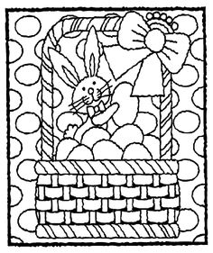 Easter Bunny In Basket Coloring Page