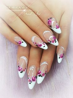 Gel french nails, flower water stickers, white lines, french nail designs, nail Nail Art Designs Videos, Gel Nail Art Designs, French Nails, French Gel, Bridal Nails, Wedding Nails, Cute Nails, Pretty Nails, Gel Nagel Design