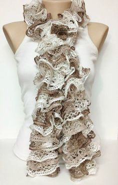 beige brown white handmade 3 color ruffle......?.