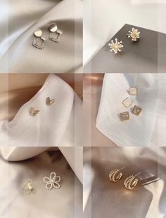 Stylish Jewelry, Cute Jewelry, Jewelry Accessories, Jewelry Design, Square Earrings, Stud Earrings, Fashion Terms, Kpop Fashion Outfits, Delicate Jewelry