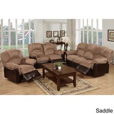 Let the whole family recline at once for ultimate relaxation. This three-piece living room set provides space for six to sit together, with soft microfiber upholstery and pop-out foot rests that encou