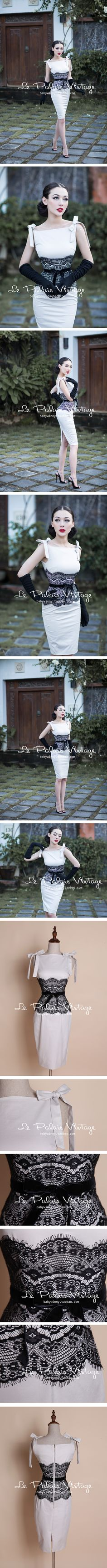 le palais vintage - Good contrast and interesting waist treatment. Not fond of the neckline. Look Vintage, Vintage Girls, Retro Vintage, Fashion Mode, 1940s Fashion, Vintage Fashion, Vestidos Vintage, Vintage Dresses, Vintage Outfits