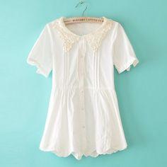 Japanese Babydoll Pleated Short Sleeve Cotton Blouses
