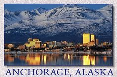 Anchorage, AK situated in the Anchorage Bowl (semi-circle of mountain range).