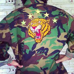 Vintage Tiger Camo Jacket/ Tiger Army Jacket/Tiger by KodChaPhorn, $65.00