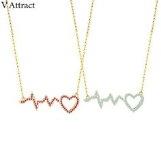 V Attract CZ Love Heart Heartbeat Charm Necklace 2018 Fashion Lover Commitment Jewelry Collier Choker Anniversary Gift