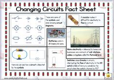 Here's a simple fact sheet on changing circuits. Includes a helpful glossary Science Worksheets, Science Curriculum, Science Resources, Science Ideas, Science Lessons, Teaching Science, Science Education, Science Activities, Science Projects