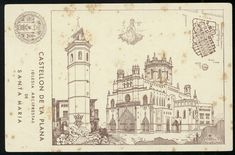 Iglesia Arciprestal de Santa María : Castellón de la Plana. (s.a.) - Anónimo Valencia, Taj Mahal, Vintage World Maps, Santa Maria, Objects