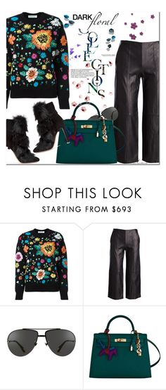 """""""Winter Dark Florals"""" by arethaman ❤ liked on Polyvore featuring Vince, Linda Farrow, Hermès, Gianvito Rossi, GetTheLook, victoriabeckham, floralsweater, darkflorals and leatherculottes"""
