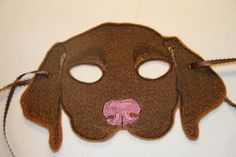 Brown Puppy Mask Embroidered on Felt by k2foryou on Etsy, $15.00