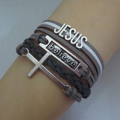 Aliexpress.com : Buy charm cross believe jesus bracelets 3pcs/lot fashion man women jewelrys bracelets love jesus faith from Reliable bracelet sleeve suppliers on Angelove