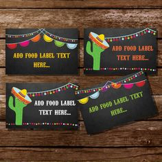 Mexican Fiesta Tent Cards, Food Labels, Buffet Cards, Food Tags, Labels - Instantly Downloadable File by SunshineParties on Etsy https://www.etsy.com/listing/193555833/mexican-fiesta-tent-cards-food-labels