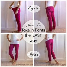 Pleats and Ruffles: How To: Take in pants the EASY way; for just baggy pants