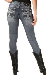 Miss Me® Women's Medium Wash Patched Contrast Cross Skinny Jean | Cavender's