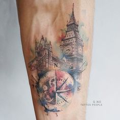 #london #compass #watercolourtattoo #tattoopeople #torontotattoo #compasstattoo #bigben #londonbridge #tattoo #fkirons#watercolour #toronto