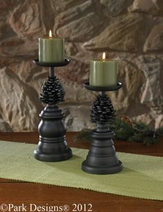 Pine Bluff Pillar Holders Set with pine-cone detail by Park Designs. For a Park Designs retailer near you visit our website at www.parkdesigns.net #parkdesigns