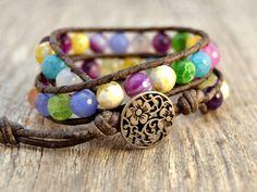 Colorful beaded wrap bracelet. Double wrap leather bracelet. Fun summer beach chic jewelry