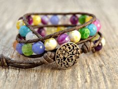 Colorful beaded wrap bracelet. Double wrap leather bracelet. Fun summer beach chic jewelry