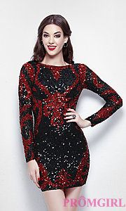 Buy Short Sequin Dress with Long Sleeves by Primavera at PromGirl