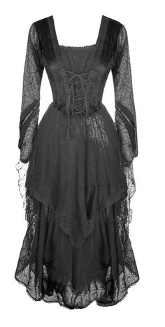 black *Morticia* velvet & spiderweb gown <3