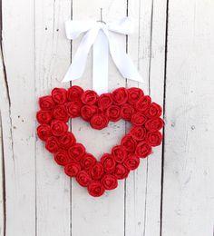 Red Valentine Wreath by designerkym on Etsy, $22.50