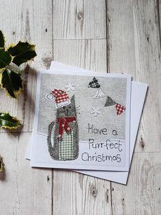 Set of 4 Christmas cards Christmas card set textile art