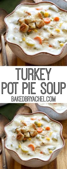Slow cooker leftover Thanksgiving turkey pie soup recipe from (Turkey Soup Recipes) Leftover Turkey Soup, Turkey Pie, Turkey Leftovers, Recipes For Leftover Turkey, Turkey Lunch Meat, Leftover Ham, Leftover Fabric, Thanksgiving Soups, Thanksgiving Leftover Recipes