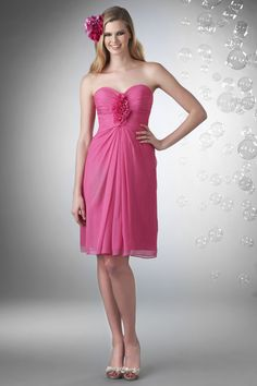 Sweetheart Knee Length Chiffon Pink Princess Bridesmaid Dress