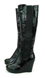 Black wedge heel knee high boots for Starfleet costume.