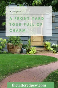 Come tour our charming front yard! Front Doors With Windows, Wood Front Doors, Annabelle Hydrangea, Copper Lantern, Dream House Exterior, Ship Lap Walls, Outdoor Areas, Curb Appeal, Beautiful Homes