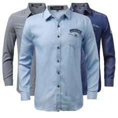 b024d4be0ce7 Men Spring Denim Polyester Turn-down Collar Long Sleeve Solid Color Shirt.  Julia Santi · Shirts